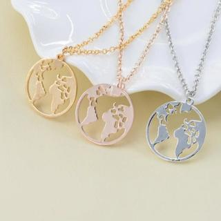 Rinhoo Vintage Origami World Map Necklace Women Geometric Necklace Round Necklace Circle Necklaces