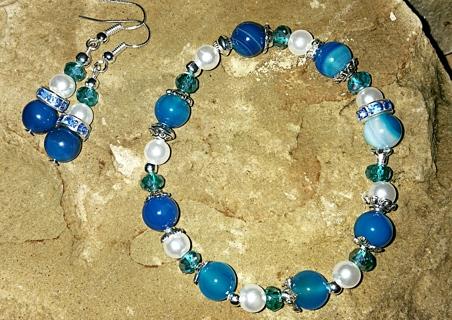NEW! Beautiful Byzantine Blue Bracelet & Matching Ear Rings Set! (#BE-BluByz-003)