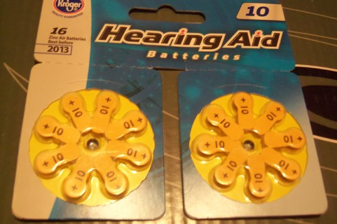 SIXTEEN ^^ 16 ^^ HEARING AID BATTERIES ## size 10