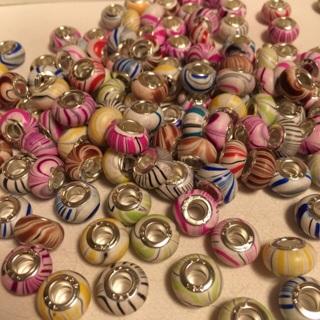 Euro Style Beads Assortment Set #13 swirly wood look multicolors