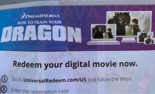 How to train your dragon MA code vudu HD