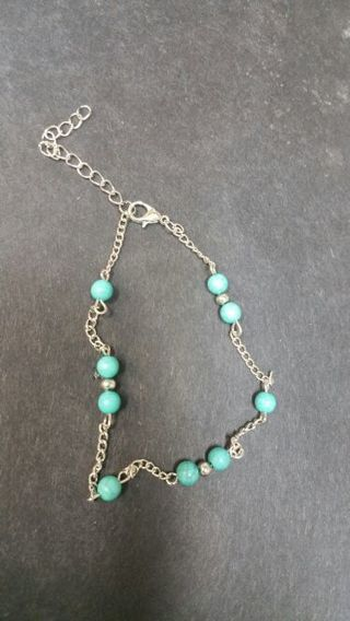 BEAUTIFUL TURQUOISE ANKLET, ADJUSTABLE LENGTH (FREE SHIPPING )