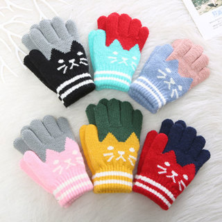 [GIN FOR FREE SHIPPING] Cat Splice Mittens Winter Baby Knitted Gloves Warm