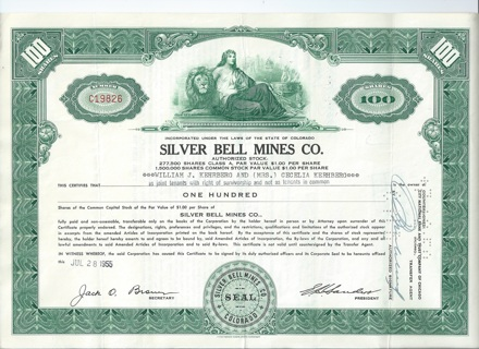 Silver Bell Mines stock certificate 1955 Ophir Colorado