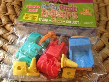 Kwazy Puzzle Erasers Construction Trucks
