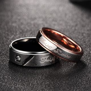 b7c0bc3f31 Custom Engraved Lace Titanium Steel Promise Ring Couple Wedding Bands Lover
