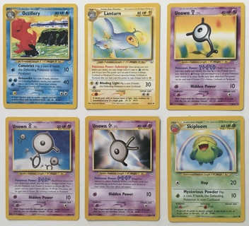 Pokemon Neo Revelation Non-Holo Cards Lot of 6 - 4 Uncommon, 2 Common