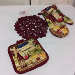 Beautifully Crocheted Burgundy Kitchen Set.