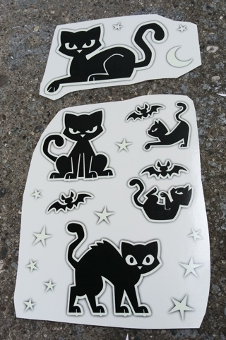 HALLOWEEN GLOW IN THE DARK CAT AND BAT STICKERS LOT 3