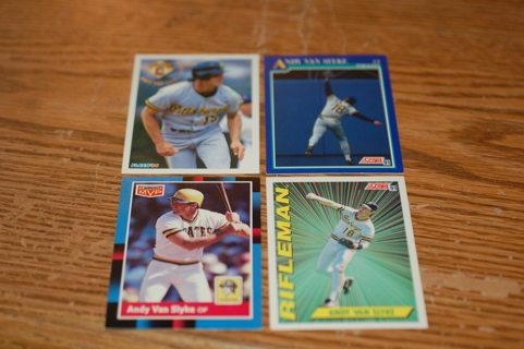 Set of 4 Pittsburg Pirates Cards Andy Van Slyke