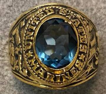 Marine Ring crystal stone 18 Kt Gold US MADE NWT