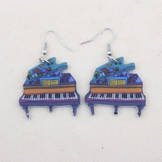 1 pair piano drop earrings new big house cute lovely printing acrylic design summer style