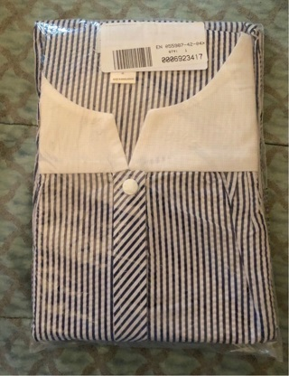 BNIP 4X Black / White Striped Short Sleeved, Cotton Robe w/2 Large Pockets, Button Up Front