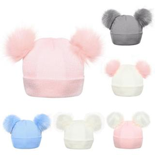 Winter Knitted Baby Hats 2018 Girls Boys Sweet Solid Hat With Two Fur Pompoms Balls Kids Caps For