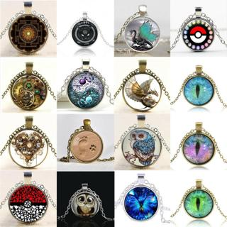 New Fashion Steampunk Mystery Dragon Retro Cabochon Glass Pendant Chain Necklace