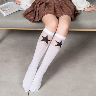 Star White Ladies Lolita Cotton Socks Women Solid Knee Socks School Party Cheerleader Supplies