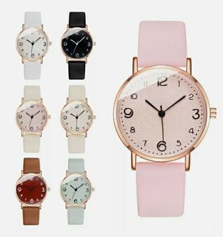 Luxury Women Quartz Wrist Watches Leather Strap Stainless Steel Analog Watch