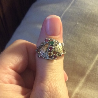 Beautiful Black Hills Gold and Sterling Silver Ring**size 9.5**