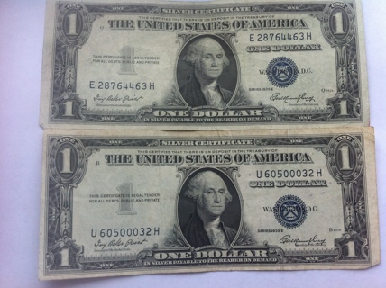 Free: Lot of 2 1935 E 1$ Silver Certificates One Dollar Bill 2$ Face ...