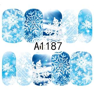 1 Sheet Christmas Snow Flower Nail Stickers Full Wraps Water Transfer Sticker Nail Art Decals Mani