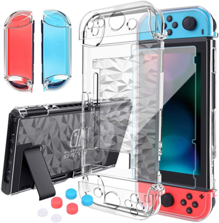 Nintendo Switch Case Dockable with Screen Protector, Protective Cover Tempered Glass Thumb Caps