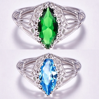 Engagement Marquise Cut Blue Topaz & Emerald Gemstone Silver Ring