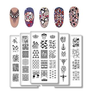 Nail Stamping Plates Valentine's Day Theme LOVE Lace Style Rectangle Stamping Nail Art Plate DIY I