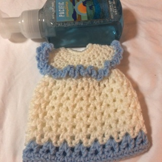 Hand Crochet Liquid Hand Soap Bottle Cover .
