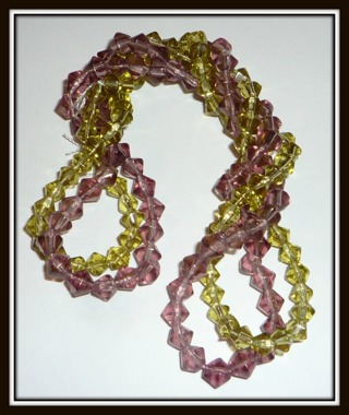 Purple & Green Czech Crystal Faceted Bicone Beads #75pcs + #80pcs, 5mm & 4mm, (#155 beads), NEW!