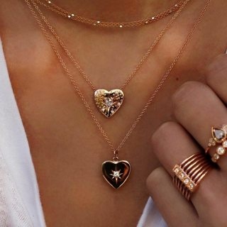 Women Trendy Choker Crystal Heart Chain Pendant Multilayer Necklace Boho Party Wedding Simple