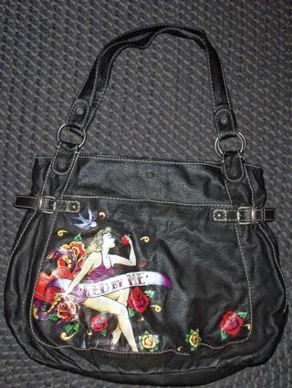 Free Red Marc Ecko Black Shoulder Bag With Tattoo Lady Design