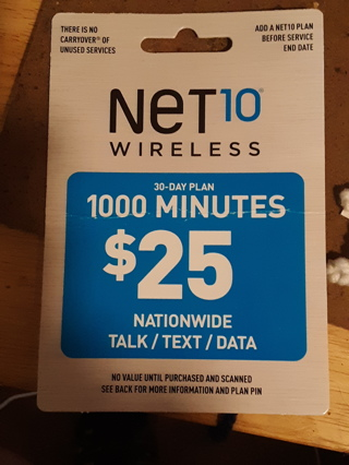 $25 1000 Minutes Net Ten Phone Card