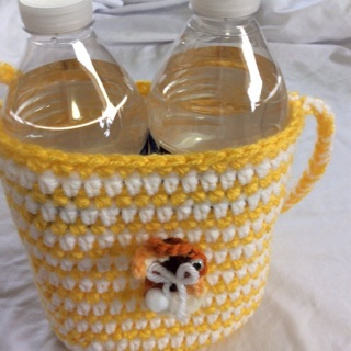 Hand Crochet Two Beverage Cozy Cross Body with a ShoulderStrap.