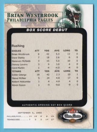 2002 Fleer Box Score Debuts - Brian Westbrook RC - Eagles