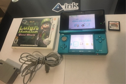 Nintendo 3DS Handheld 2 Games Luigi's Mansion Dark Moon Pokémon's White 2 Version Sold As Is
