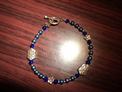 """New! Midnight blue glass and copper beaded bracelet, 7"""""""