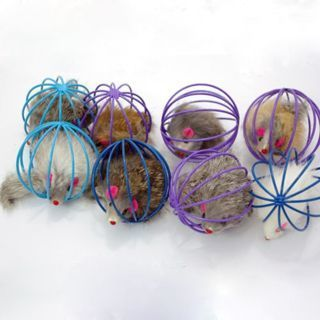 [GIN FOR FREE SHIPPING] 2Pcs Random Lovely Fun False Mouse in Rat Cage Ball Toy For Cat
