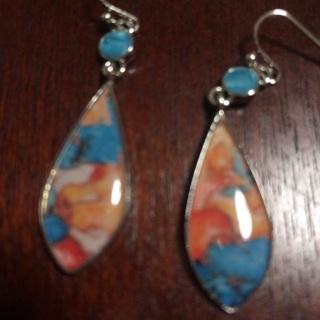 Long Dangling Colorful Earrings .