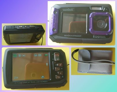 ☆1☆ Brand New Purple Dual Full-Color LCD Displays Underwater Shockproof Digital/Video Camera