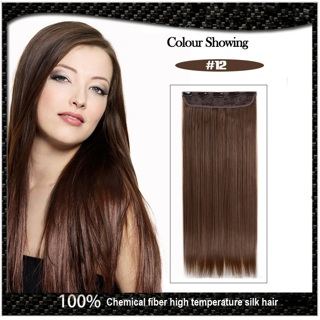 "New Women Seamless Five Clips Piece Straight Hair Extensions Long 61cm/24"" 120g Color #12"
