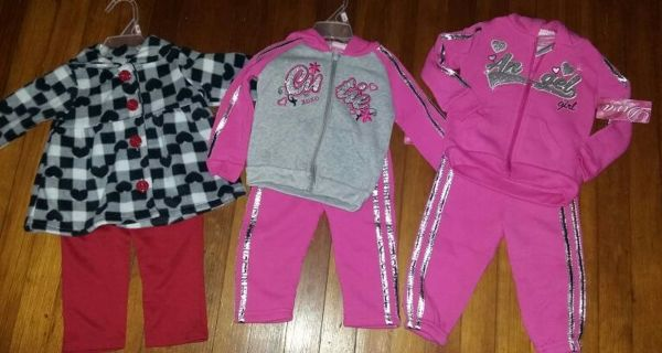 (3) NEW with tags DIVA 2-pc outfits, girls size 12 months ♡♡
