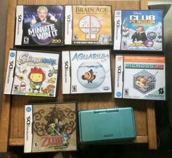 Nintendo Black DS Console With 7 Games Zelda,Club Penquin, Minute To Win It, Aquarium, Plus More
