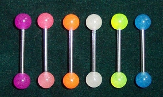316L Glow in the dark tongue ring 14g Qty 1