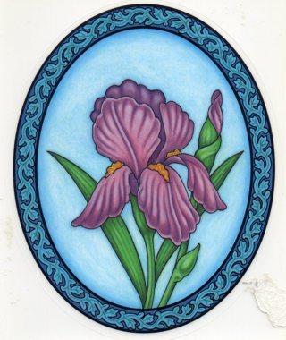 Vintage unused 5 x 6 Oval Window Cling: Iris