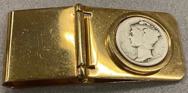 Mercury DIME Coin Money CLIP Vintage Key Rare yellow gold plate NWT