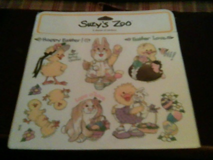 4 sheets of suzy's Zoo easter stickers