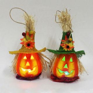 Hollow Pumpkin with Hat LED Light Lamp Lantern Halloween Home Party Bar Decors