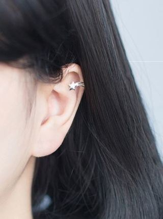 NEW Pair Fashion Star Heart Ear Clip Cuff Silver Earring Cute Accessory FREE SHIPPING