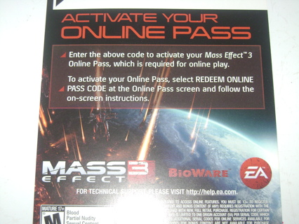 Free: Mass Effect 3 PS3 Online Pass Code (No Game) - Video Games