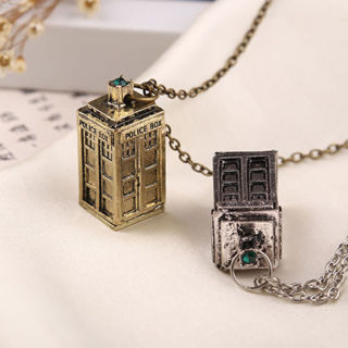 [Gift to get seller Wings]3D Doctor Who TARDIS Police Box Pewter Tall Long Chain Pendant Necklace